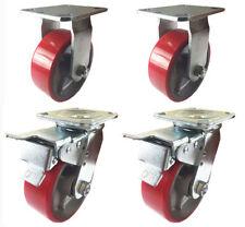 4 Caster 4 5 6 8 Polyurethane On Cast Iron Rigid Amp Total Lock Brake Red