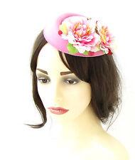 Light Pink Flower Pillbox Hat Fascinator Headpiece Vtg Rockabilly 1950s 40s 518