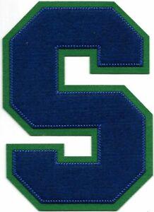"6"" inch Tall Blue Green Block Letterman'S Letter S Felt Patch"