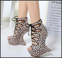 Womens Leopard Open Toe Wedge Heels Clubwear Shoes Lace Up Platform Sandals N-20