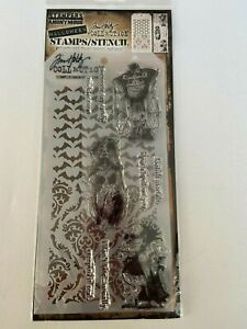 *NEW* TIM HOLTZ (Stampers Anonymous) STAMPS & STENCIL 'GHOULS ZOMBIES' Halloween