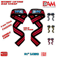 DAM WEIGHT LIFTING BAR STRAPS WEIGHTLIFTING BODYBUILDING WRIST BAR SUPPORT WRAPS