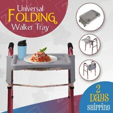 Gray Folding Walker Tray with Two Cup Holders Tool Free Setup Universal Fit 🖤