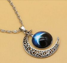 2016 Stylish Women Galaxy Universe Crescent Moon Glass Cabochon Pendant Necklace