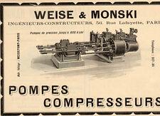 WEISE ET MONSLI POMPES COMPRESSEURS INGENIEUR PARIS PUBLICITE 1911 FRENCH AD