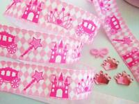 "10 yards Pink Princess Castle & Crown Grosgrain 7/8"" Ribbon/craft/gift/Girl R152"