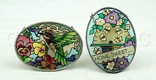 Set of Two Multi Colored Stained Glass Window Suncatchers Hummingbird Home Sweet