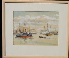 William Darling California Watercolor of Boats in a Harbor