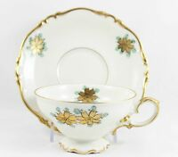 4 SETS CUPS & SAUCERS HAND PAINTED HEINRICH CHINA FOOTED GOLD BLUE CREAM FLORAL