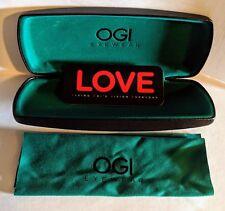 OGI Hard Black Eyeglasses / Readers / Glasses Case With Teal/Green Interior