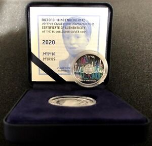 "5 Euro Silbermünze Griechenland 2020 "" MYRTIS "" Koloriert - Nur 2.500 Exemplare"