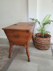 Vintage Ethan Allen Baumritter Colonial Maple Wood Flip Top Dough Box Table