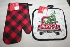 New listing Christmas Buffalo Plaid Merry Xmas Truck with Tree Ovenmitt Potholder Set