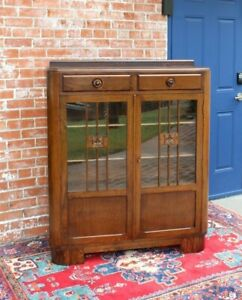 English Oak Wood Art Deco 2 drawer & 2 Door Bookcase / Display Cabinet