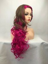FIXSF1002 newest style long  brown mix purple red hair wig wavy women wigs