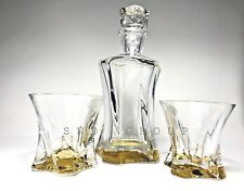 Crystal Glasses Set Whiskey Decanter 21 oz and 2 Tumblers 10 oz Bohemian Aurum