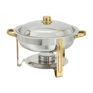 Winware by Winco Round Chafer w/Gold Accents, 4 Quart