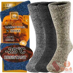 3 Pairs Winter Merino Lambs Wool Heavy Duty Thermal Boots Socks For Mens 10-13