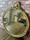 """VINTAGE WOOD CARVED GOLD GESSO GILTWOOD FRAMED ROUND GLASS MIRROR 30"""" X 26""""#3503"""