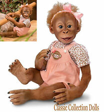 "Ashton Drake ""MOMOKO"" LIFELIKE 20"" BABY MONKEY DOLL-HOLD THAT POSE™-NEW IN STOCK"