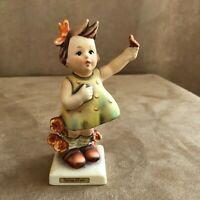 Spring Cheer Girl Goebel Hummel 72 Figurine vintage holding flower bouquet bird