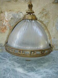 antique lampe  suspension lustre  bronze et pate de verre années 30