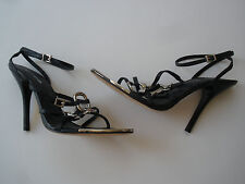 "BEBE LEATHER STILETTO SANDAL 4""HEEL WOMEN SIZE US 7M SUPER HOT $189 UNIQUE NEW"