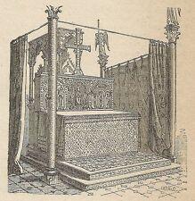 A4539 Antico altare in San Dioniso - Incisione - Stampa Antica del 1887