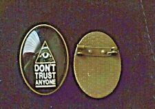 / don't trust anyone / 30 x 20mm Black retro glass and bronze lapel brooch pin