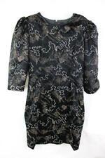 VINTAGE 80s PROM Velvet METALLIC SILVER SQUIGGLE Little Black Dress  NEW WAVE