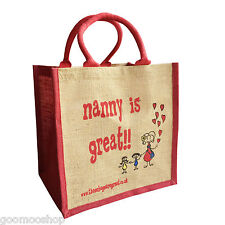 """Nanny is Great"" Jute Shopper from These Bags Are Great - Good size bag"