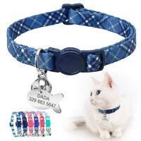 Breakaway Cat Collar Quick Release Buckle Pet Kitten Personalised Tag Anti Lost