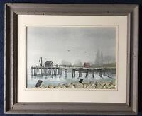 Dave Nicholas_Orig Water Color_Signed LR_Impressionist Landscape/Dock_SHIPS FREE