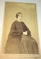Antique American Civil War Victorian Fashion Lady! Buffalo, New York CDV Photo!