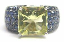 Natürliches Grün Turmalin & Blauer Saphir Weiss Gold Schmuck Ring 18Kt 7.56CT