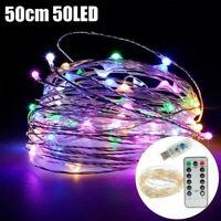 Mehrfarben USB Lichterkette 50 LED Silberdraht Lichterkette+Fernbedienung Kette