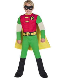 Childs Deluxe Robin Muscle Chest Fancy Dress Costume DC Comics Boys Kids Batman