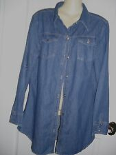 SZ 14  BLUE DENIM LONG SLEEVE SHIRT LONG LENGTH  ADJSTABLE  SLEEVES BNWT $29