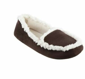 ISOTONER microsuede Alex women's moccasin slippers Memory Foam -Chocolate S(5-6)