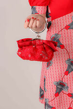 red satin & lace bow wristlet bag / pouch evening bag Wedding prom Races Party