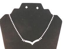 Silver Plated Rhinestone Bridal Modern Adjustable Choker Necklace & Earrings