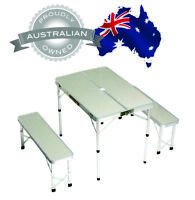 ALUMINIUM FOLDING CAMPING TABLE AND CHAIRS PICNIC SET WITH 2x BENCH SEATS