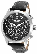 NEW I by Invicta 20756-001 Men's Silver Textured Dial Black Leather Strap Watch