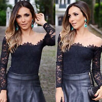 Womens Sexy Off-Shoulder Blouse Fashion Lady Long Sleeve Lace T-Shirt Slim Tops