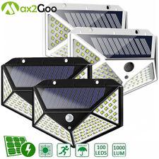 4 Pack 100 LED Solar Power Light PIR Motion Sensor Outdoor Garden Wall Yard Lamp