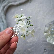 Baby's breath flower hair comb, Woodlandbridal floral hair piece for bride