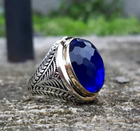 KİNG Design Turkish Handmade Sapphire 925 Sterling Silver Mens Ring AS 010