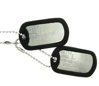 Custom Embossed Military Issue Stainless Steel Army Navy USMC AF ID Dog Tags Set