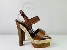 Christian Louboutin Strappy Brown Leather Platform Wooden Heel Sandals 36