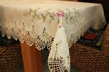 IVORY BEIGE Embroider Lace Square 180cm Coffee Dinning Tablecloth for  6-8 seat